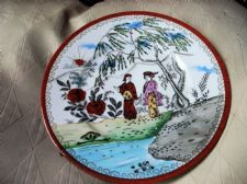 VINTAGE HANDPAINTED ORIENTAL PLATE LOVELY BOLD DESIGN AND COLOURS RICH RUST GILT